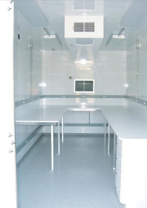 Air Monitoring Equipment sheter - HVAC ducts in workspace