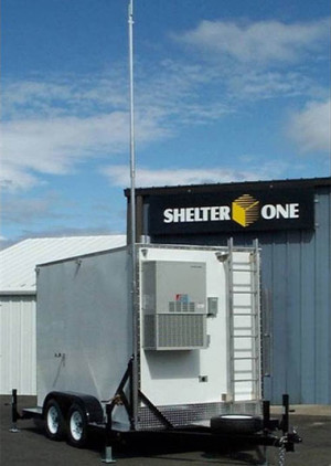 Mobile Monitoring System Shelter with Mast